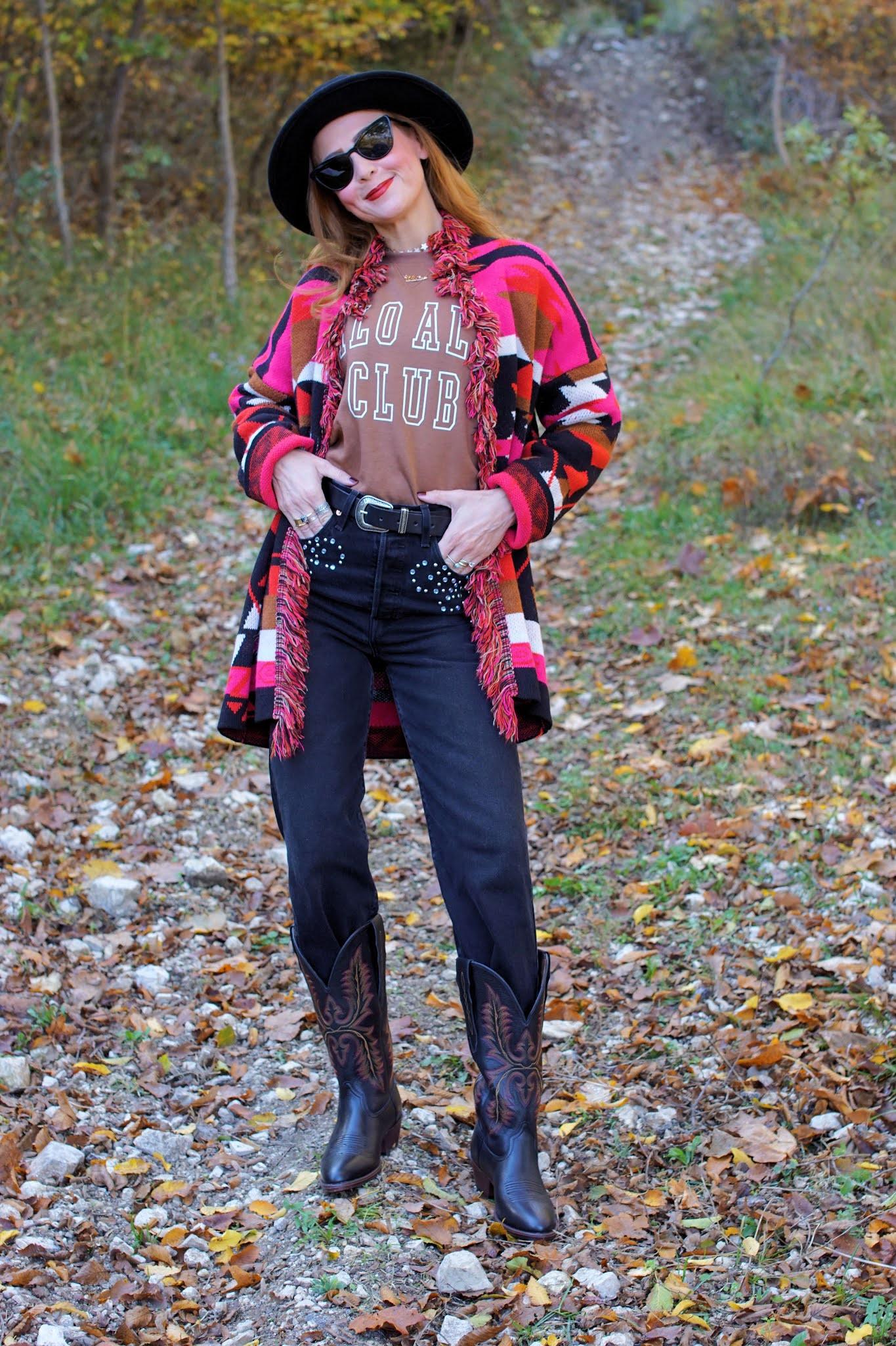 Ariat boots & ethnic cardigan