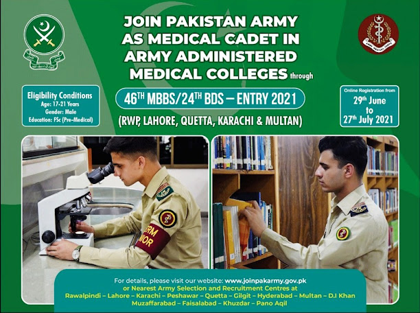 Join Pakistan Army as Medical Cadet 2021 July Online Registration Through 46th MBBS / 24rd BDS Course Latest Pakistan
