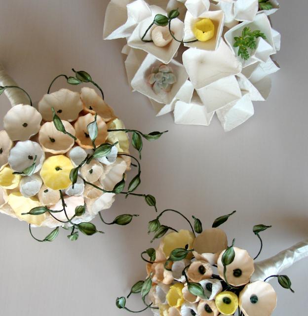 bouquet di fiori di carta realizzato a mano per spose sostenibili