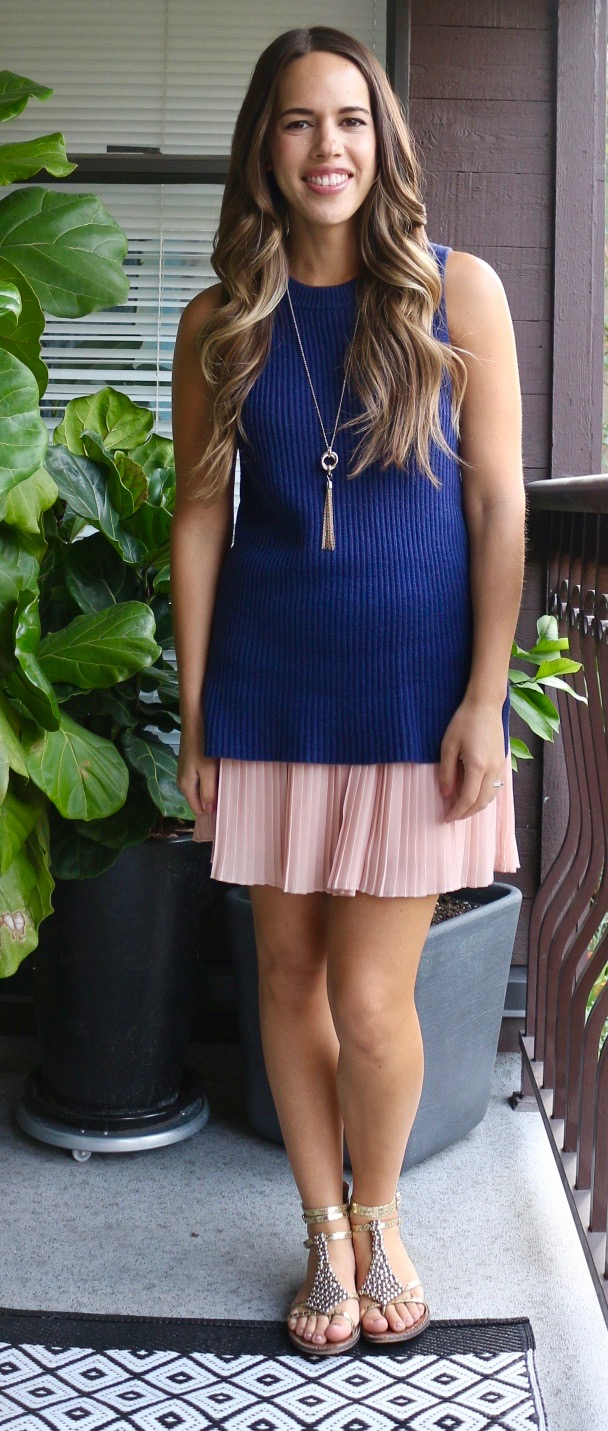 Jules in Flats - Pleated Mini Skirt with Sleeveless Tunic Sweater
