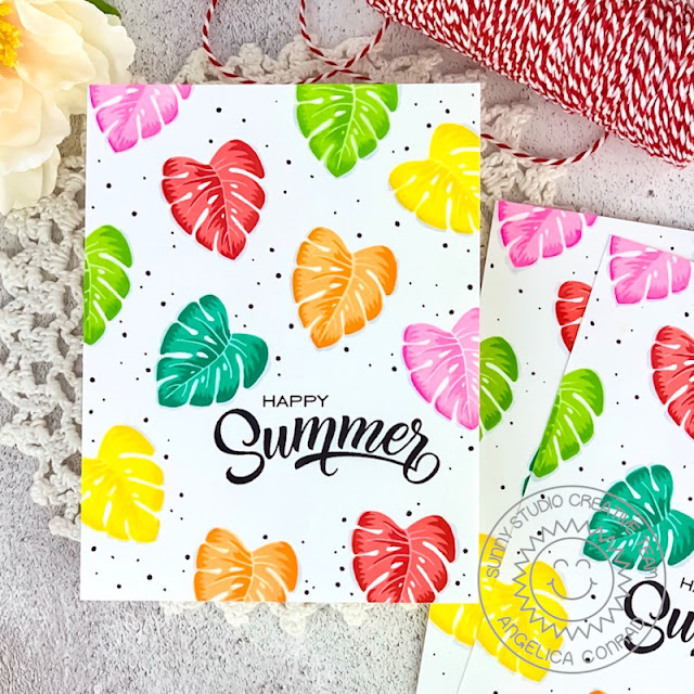 Sunny Studio Stamps: Radiant Plumeria Summer Themed Card by Angelica Conrad