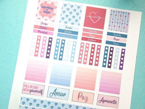 Adesivos para planner e bullet journal - Valentines Day