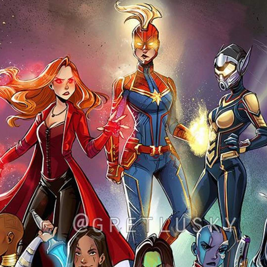 She's Not Alone by @gretlusky : 女だけアベンジャーズの戦うヒロイン戦隊の A-Force を描いた素敵なファン・アート ! !