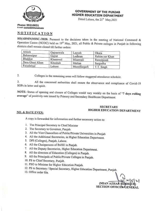 NOTIFICATION REGARDING CLOSURE OF COLLEGES IN 20 DISTRICTS