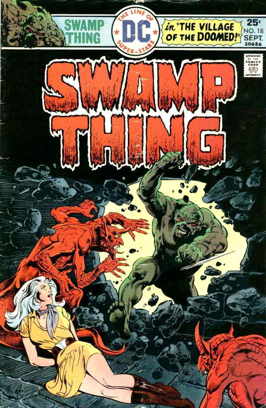 Swamp Thing v1 #18 1970s bronze age dc comic book cover art by Nestor Redondo
