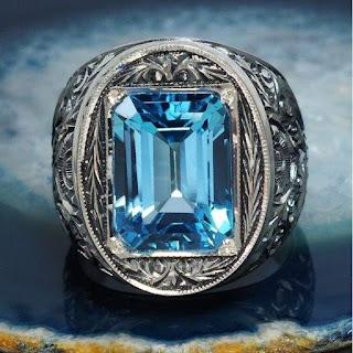 mẫu nhẫn vàng nam mặt đá xanh dương đẹp