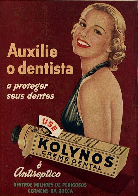 Propaganda antiga da Kolynos promovendo seu creme dental junto aos seus consumidores