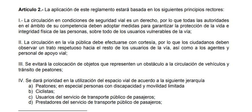 Ley de Movilidad en CDMX Articulo 2 en Linea