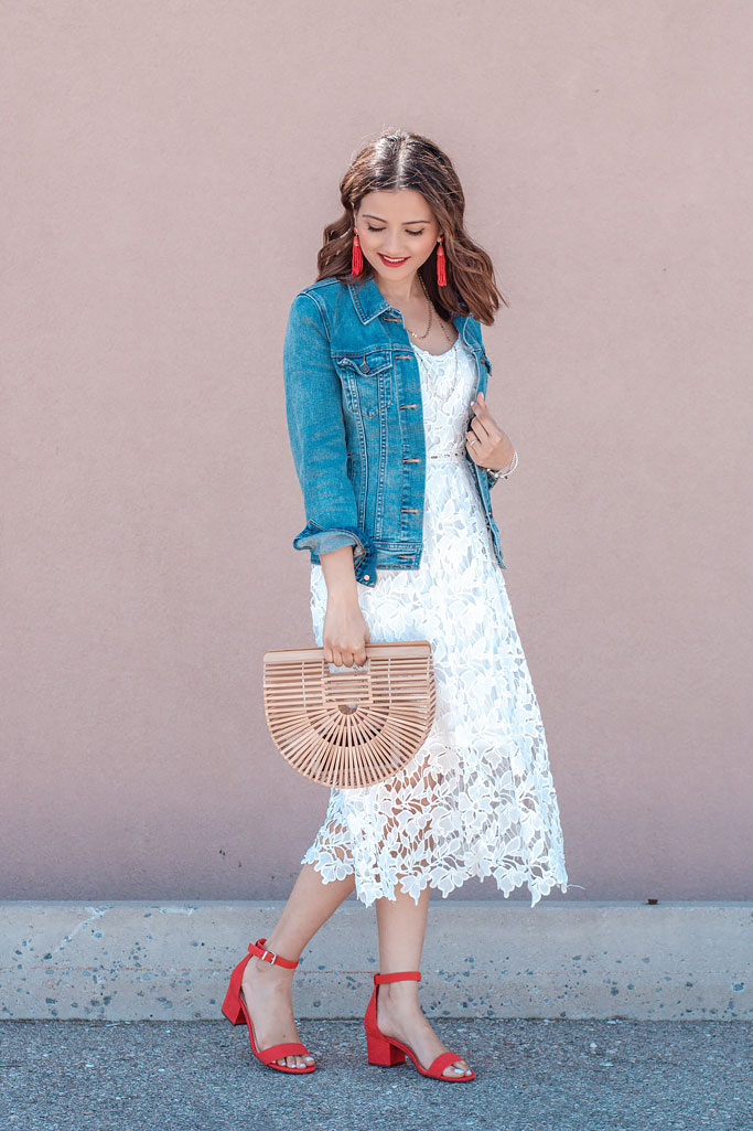 White Lace Crochet Slip Dress Denim Jacket Red Heels Cult Gaia Basket Bag Dupe Aria Red Strap Heel Sandals Blogger Outfit