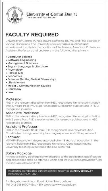 hr@cup.edu.pk - University of Central Punjab Jobs 2021 in Pakistan
