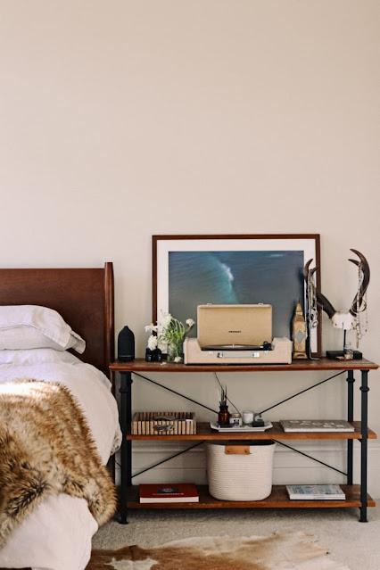 bookshelf as bedside table