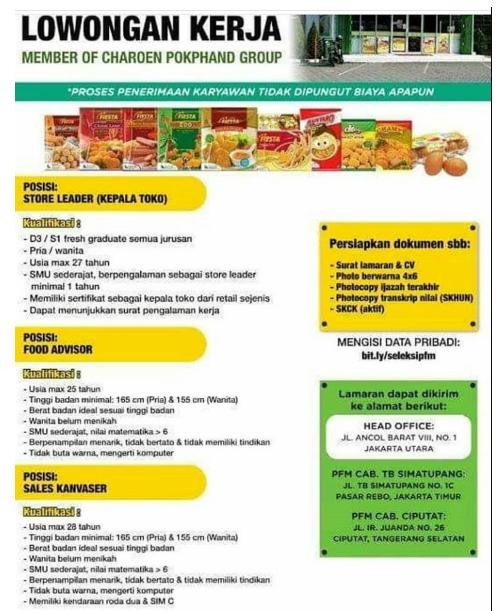 Lowongan Prima Freshmart (Group Charoen Pokphand) Minimal SMK SMA SEDERAJAT