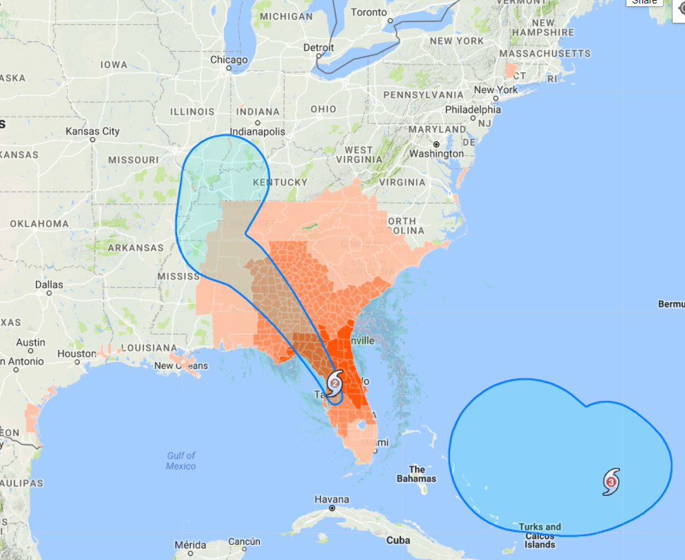 irma hit tampa bay area last night and was knocked down to a cat 1 as it heads northwest towards the tennessee valley could cause flooding on the tenn tom