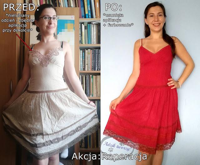farbowanie i przeróbka sukienki DIY
