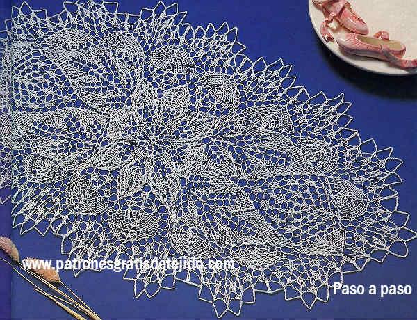 Camino de mesa ovalado en dos agujas moldes y paso a - Centro de mesa a crochet ovalado ...