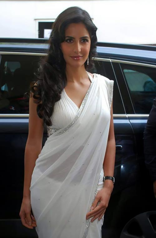 Katrina Kaif in white sheer saree bollywood actress