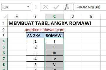 Membuat Angka Romawi Di Excel