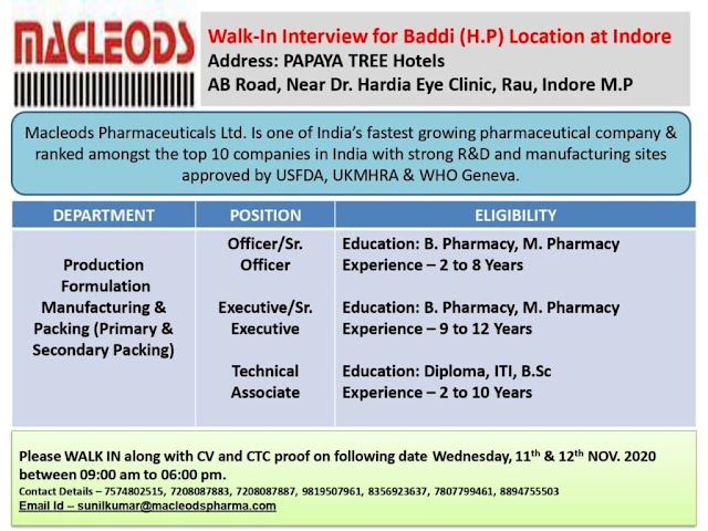Macleods Pharma | Walk-In Interviews for Production/Packing on 11th & 12th Nov 2020