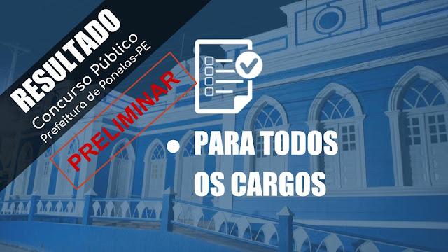 RESULTADO PRELIMINAR DO CONCURSO PÚBLICO DA PREFEITURA DE PANELAS