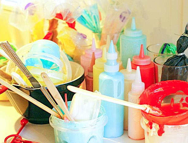 messy kitchen counter, Royal icing and bowls