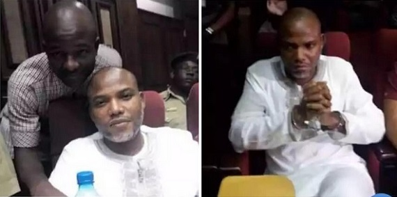 Photos: Drama As Nnamdi Kanu Refuses To Remove Handcuffs, Step Down From Van In Court Premises