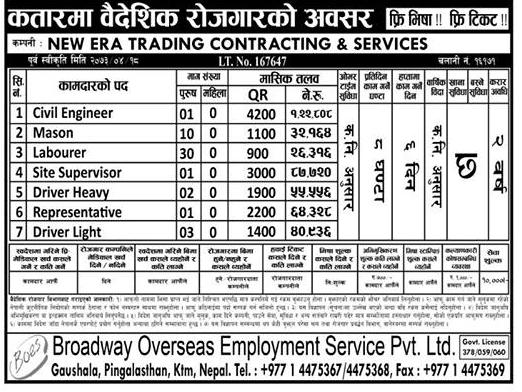Free Visa, Free Ticket, Jobs For Nepali In QATAR, Salary -Rs.1,22,808/