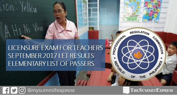 September 2017 LET Results Elementary passers list