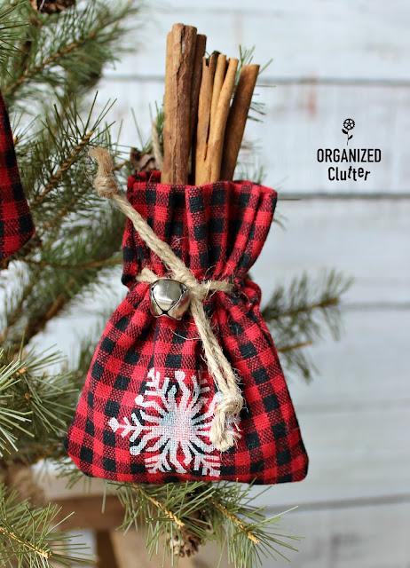 Dollar General Rustic Mini Bag Ornaments #buffalocheck #buffaloplaid #stencil #snowflakes #dollargeneral #ornaments #Christmas