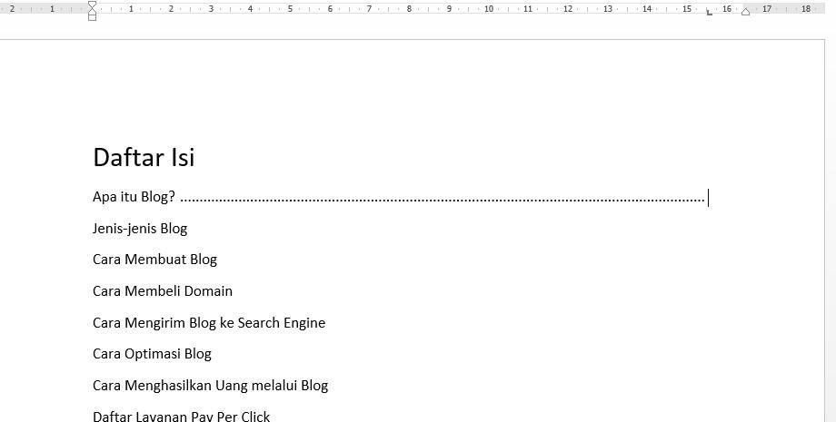 Tekan Tab di keyboard untuk mengaktifkan Daftar Isi