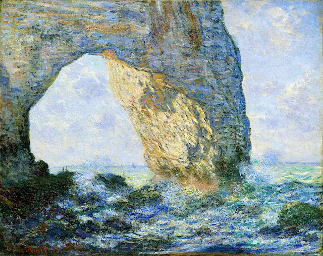 an 1883 Claude Monet painting of a coastal hole on rock