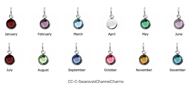 Swarovski Crystal Channel Birthstone Charms