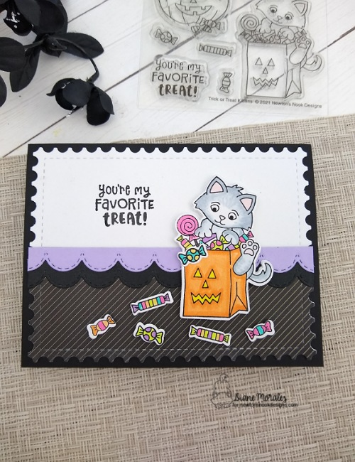 You're my favorite treat by Diane showcases Frameworks, Trick or Treat Kittens, and Sky Borders by Newton's Nook Designs; #inkypaws, #newtonsnook, #catcards, #cardmaking, #halloweencards