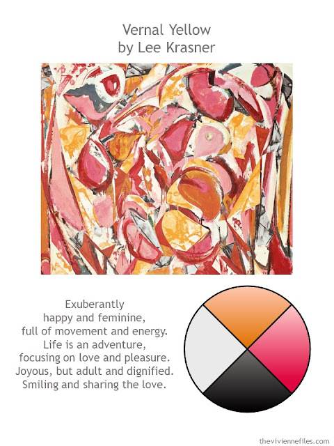 Vernal Yellow by Lee Krasner with style guidelines and color palette