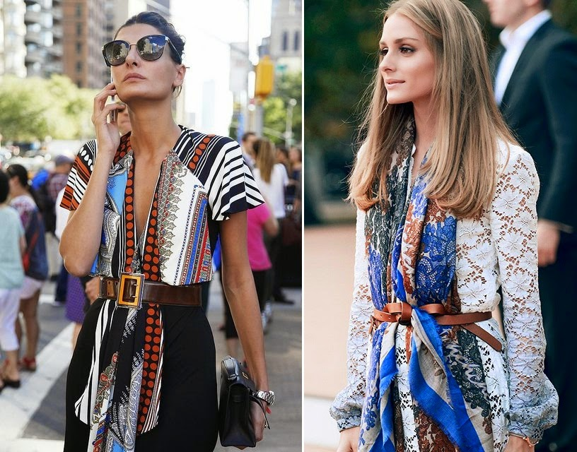 olivia-palermo-brown-slim-belt-scarf-dress