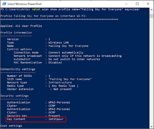 العثور على كلمة مرور Wi-Fi محفوظة من سطر أوامر Windows