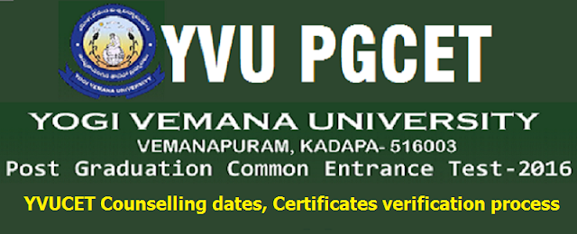 YVUCET,Counselling dates,Certificates verification process