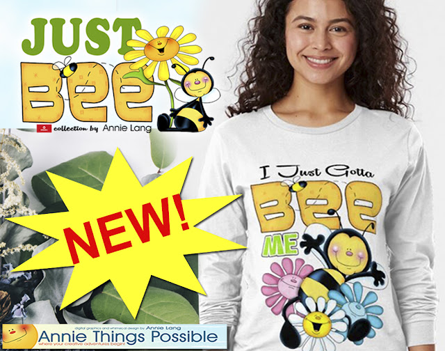 Just Bee happy character design merchandise collection by Annie Lang available exclusively from Redbubble  because Annie Things Possible!