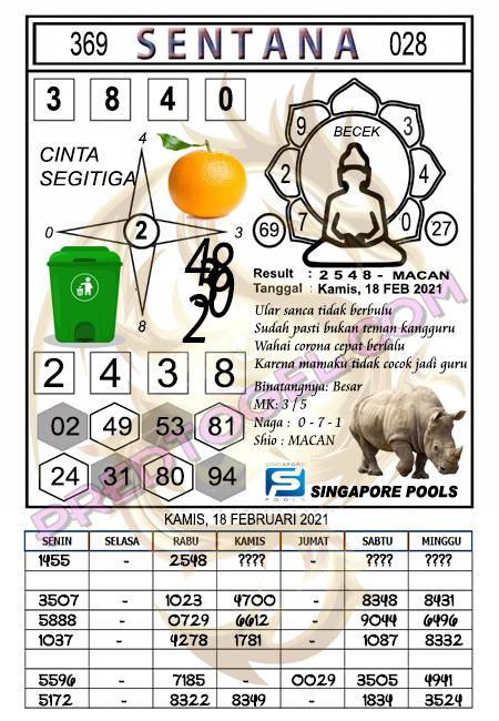 Syair Sentana Sgp45 Kamis 18-Feb-2021