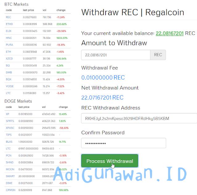 Cara deposit REC dari CoinExchange ke Akun Regalcoin