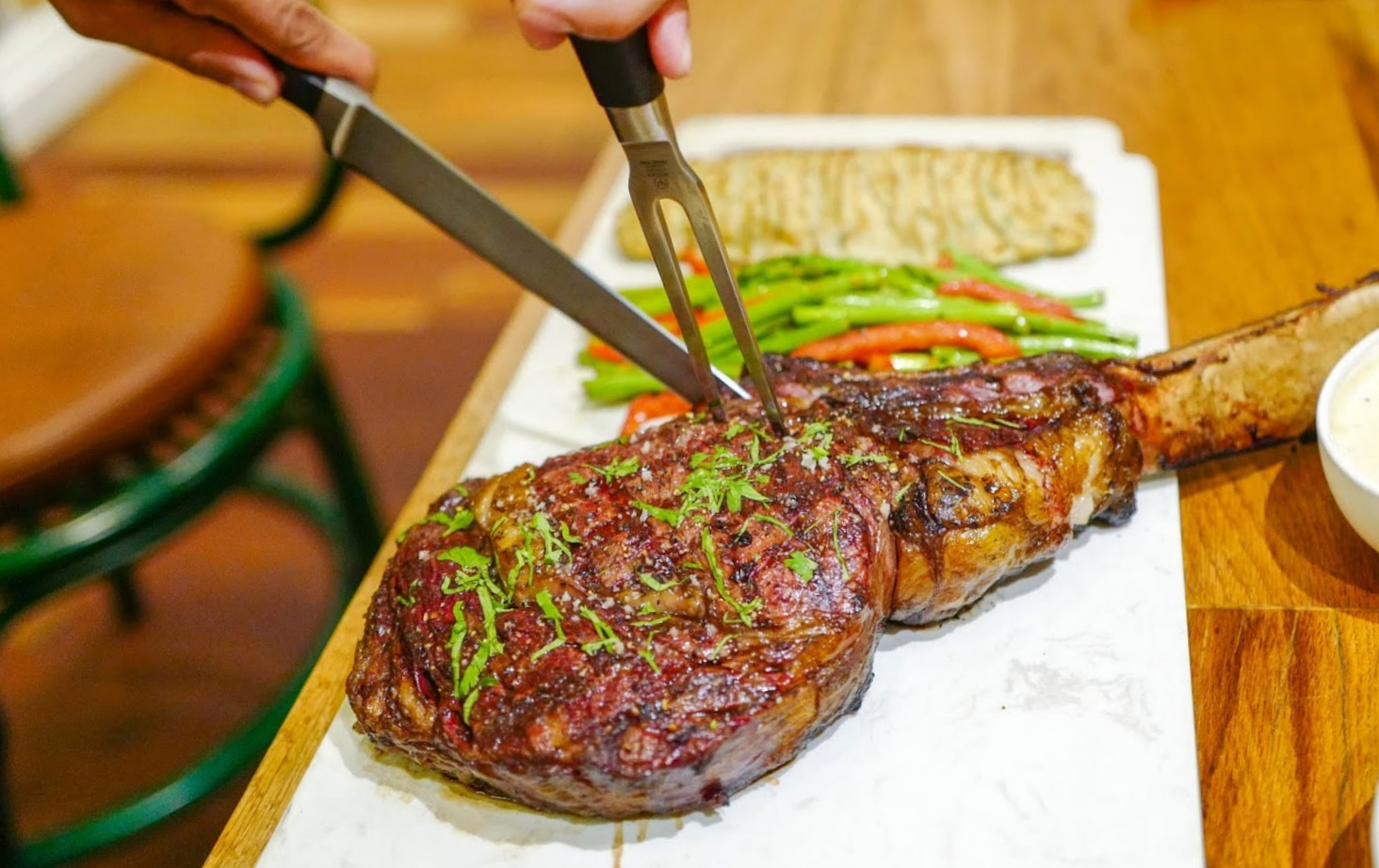 bo all day dining: wagyu tomahawk special