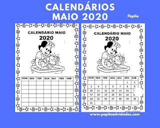 Calendário maio 2020 turma da Mônica para imprimir e colorir.