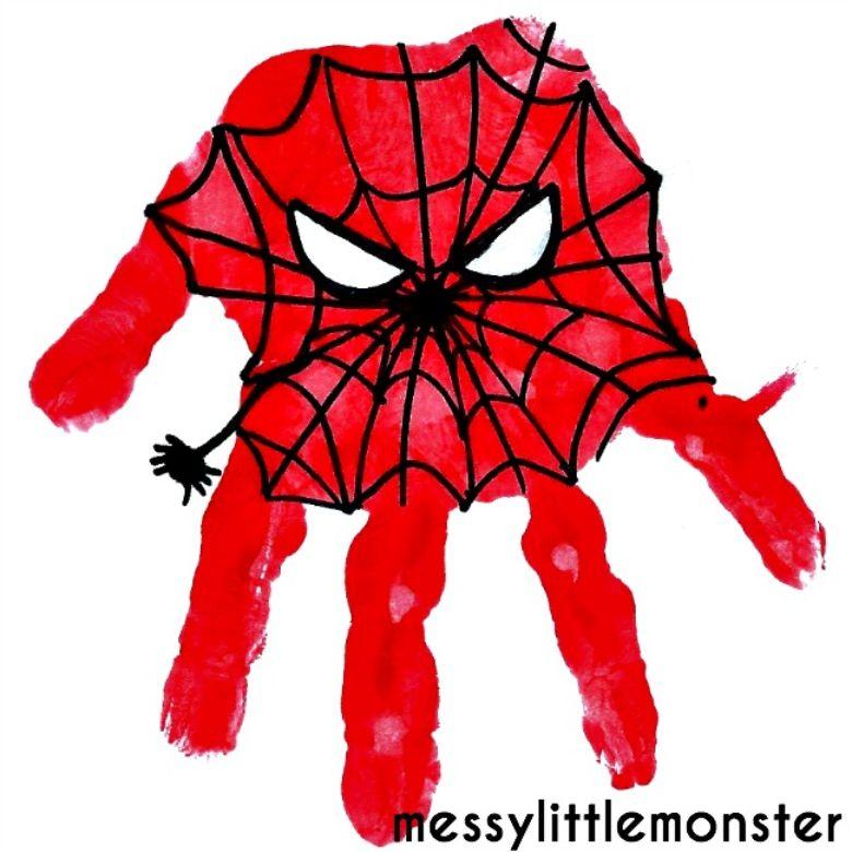 Spiderman superhero handprint art