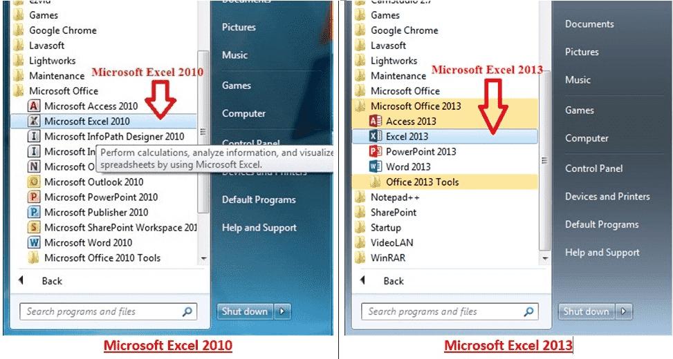 Microsoft Excel on Windows Program Menu