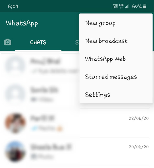 WhatsApp menu - more options
