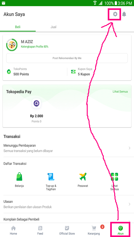Pengaturan di Menu Akun Aplikasi Marketplace Tokopedia.