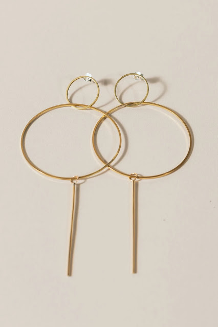 Brass Long Circle Dangle Earrings product photo