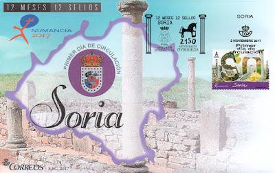 Sobre Primer Día del sello dedicado a Soria