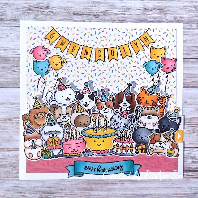 Sunny Studio Stamps: Purrfect Birthday Party Pups Make A Wish Customer Card by Roslyn Jin