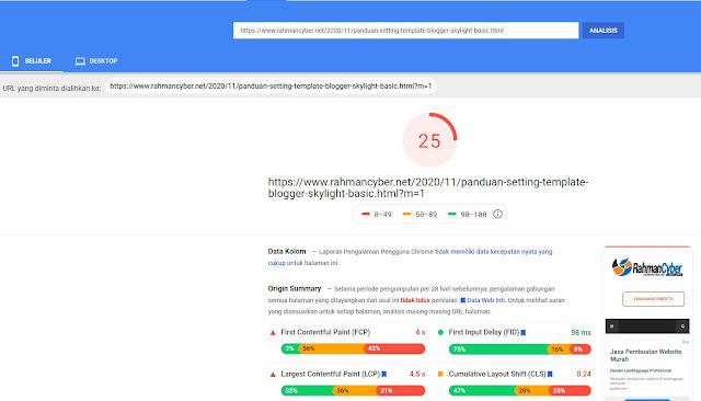 hasil tes setelah memakai tag pengkondisionalan mobile blog