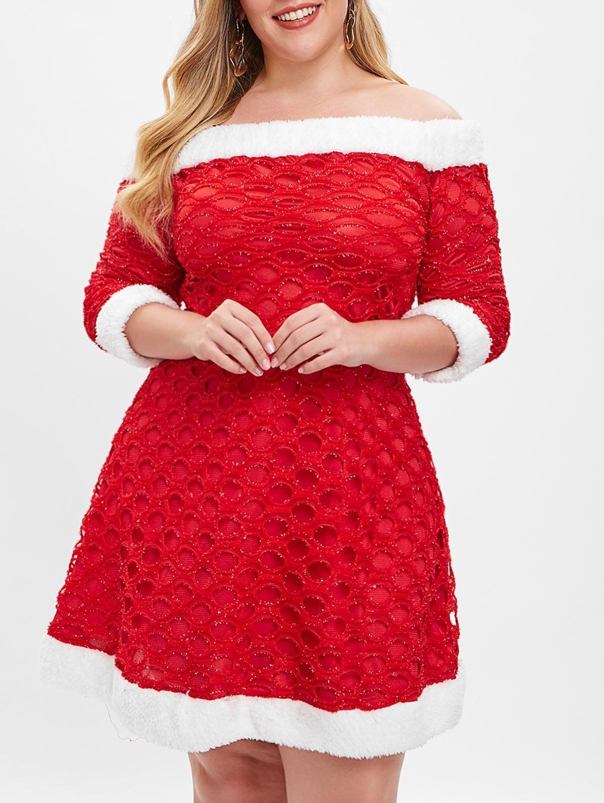 Off Shoulder Christmas Plus Size Dress